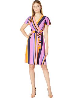 Платье в полоску с рукавом и принтом Donna Morgan