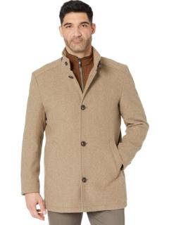 Шерстяное пальто с эффектом потертости с нагрудником Johnston & Murphy