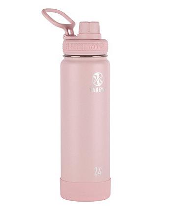 Изолированная бутылка для воды из нержавеющей стали Actives на 24 унции с изолированной крышкой с носиком Takeya