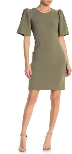 Puff Sleeve Crepe Sheath Dress Sharagano