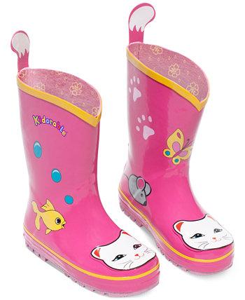 Ботинки дождя счастливой кошки для девочек Kidorable