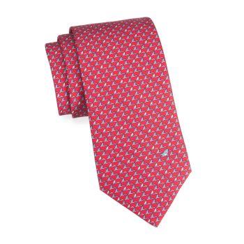 Шелковый галстук с принтом акулы Salvatore Ferragamo