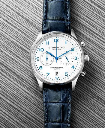 Мужской хронограф, серебряный корпус, белый циферблат, часы с синим кожаным ремешком Stuhrling