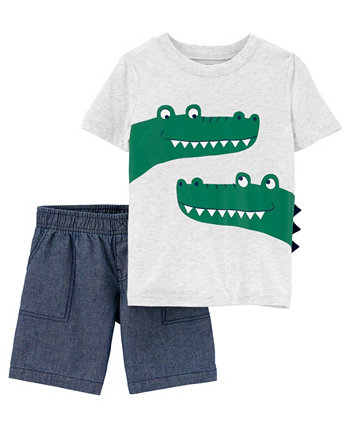 Футболка и короткий комплект из кожи аллигатора для маленьких мальчиков, 2 шт. Carter's