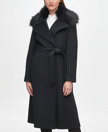 Женское пальто с запахом и поясом с воротником из искусственного меха Karl Lagerfeld Paris