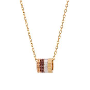 Quatre Classique, трехцветное золото 18 карат, коричневое PVD-покрытие и усиление; Ожерелье с бриллиантовой подвеской Boucheron