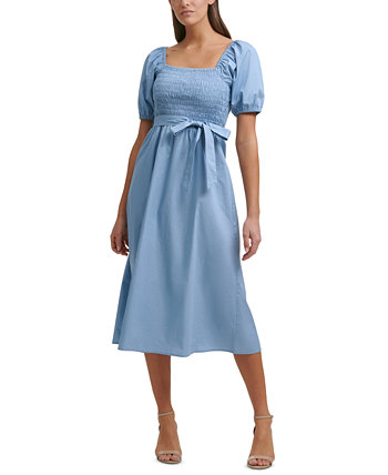 Платье миди со сборками и пышными рукавами Kensie