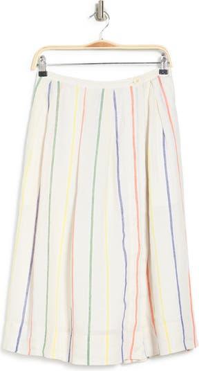 Полосатая льняная юбка-миди ALEX MILL