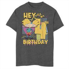 Футболка для мальчиков 8-20 Nickelodeon Hey Arnold с рисунком на четвертый день рождения Nickelodeon