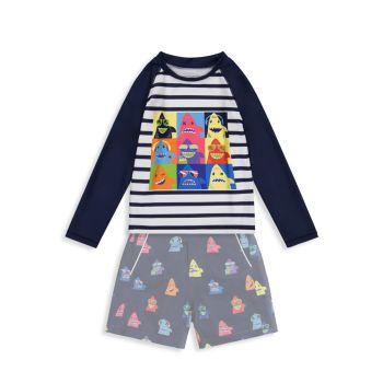 Двухкомпонентный рашгард для маленьких мальчиков с длинным рукавом и длинным рукавом Комплект шорт Andy & Evan