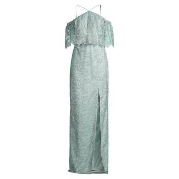 Кружевное платье с открытыми плечами Aidan Mattox