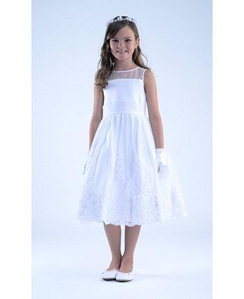 Атласное платье для причастия без рукавов для больших девочек с вышитой юбкой из ораганзы Us Angels