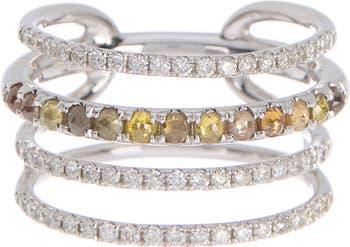 Кольцо с 4 слитками из белого золота 585 пробы с бриллиантами - размер 6.5 Meira T