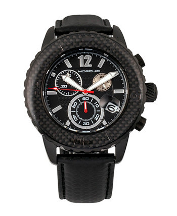 Серия M51, черный корпус, черные кожаные часы с хронографическим ремешком с датой Morphic