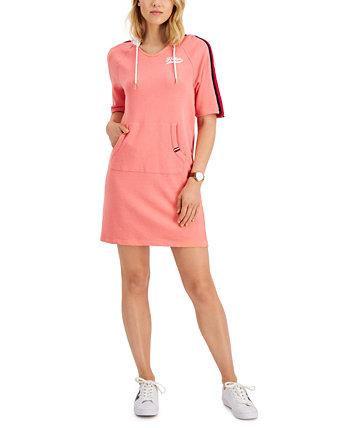 Платье с капюшоном в полоску по бокам Tommy Hilfiger