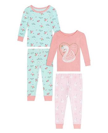 Одежда для сна с изображением лебедя для маленьких девочек, комплект из 4 предметов Koala baby