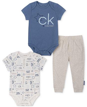 Baby Boys 3 шт. Боди с логотипом и комплект брюк-джоггеров Calvin Klein