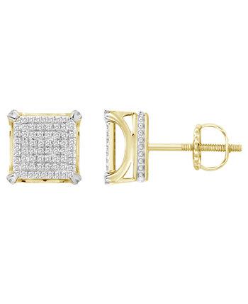 Набор мужских серег с бриллиантами (1/3 карата) из желтого золота 10 карат Macy's