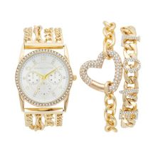 KENDALL & KYLIE Women's Crystal Watch & Heart Bracelet Set Kendall & Kylie