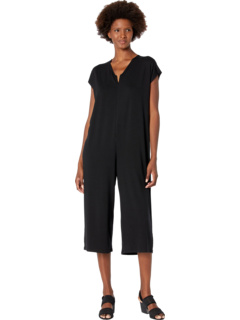 V-Neck Wide Cropped Jumpsuit in Fine Jersey Eileen Fisher