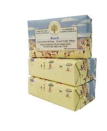 Пляжное мыло с пакетом из 3, каждый 7 унций Wavertree & London