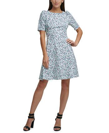 Платье с пышными рукавами и пышной юбкой DKNY