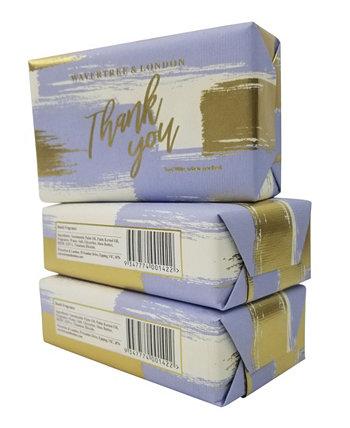 Thank You - Blue - Барное мыло с пакетом по 3 штуки, каждая по 7 унций Wavertree & London