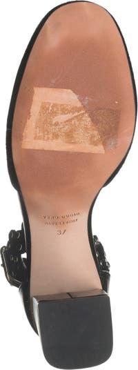 Туфли-лодочки с ремешком на щиколотке из натурального волоса теленка с заклепками RED VALENTINO