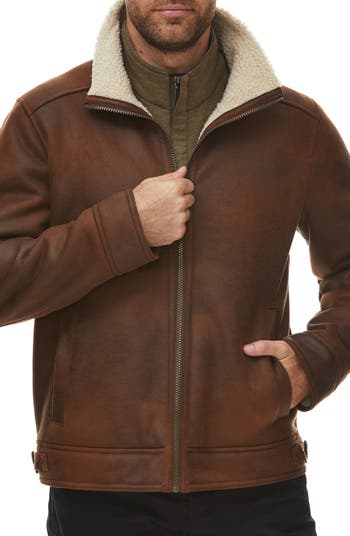 Faux Shearling Lined Leather Aviator Jacket Rainforest