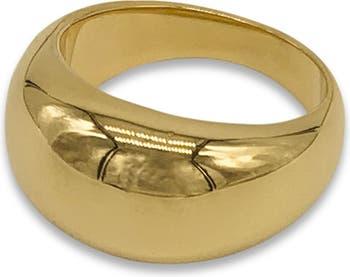 Кольцо-купол из нержавеющей стали с покрытием из 14-каратного золота ADORNIA