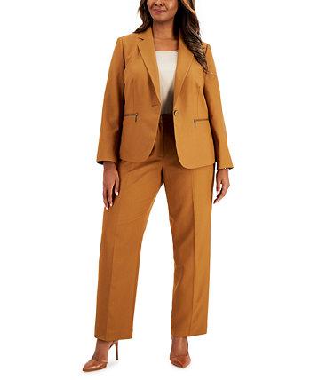 Plus Size Tonal Stripe Zip-Pocket Pantsuit Le Suit