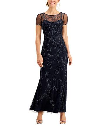 Платье с короткими рукавами и бисером Adrianna Papell