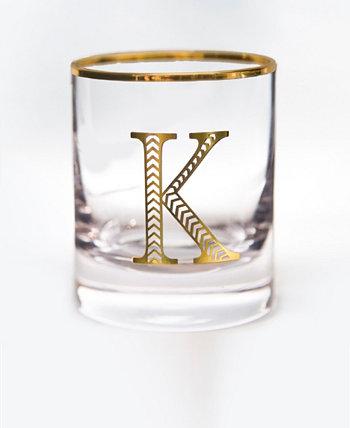 Двойные очки в старинном стиле с монограммой и буквой K, набор из 4 шт. Qualia Glass