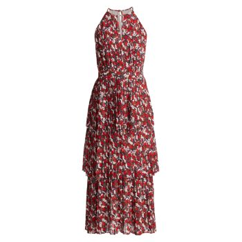 Многоярусное платье миди со складками и плиссировкой с цветочным принтом ML Monique Lhuillier