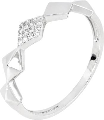 Кольцо с геометрическим рисунком из белого золота 18 карат с бриллиантом - 0,06 карата Bony Levy