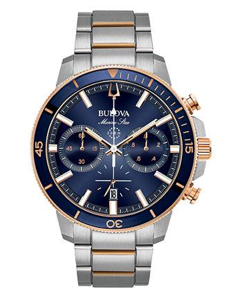 Мужские двухцветные часы-браслет из нержавеющей стали с хронографом Marine Star 45 мм Bulova