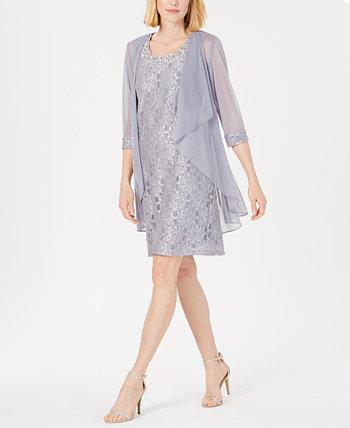 Кружевное платье с блестками и куртка с эффектом водопада Petite R & M Richards
