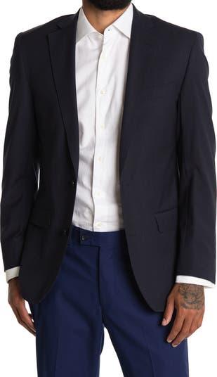 Темно-синий костюм Regent Fit в полоску с двумя пуговицами и лацканами из смесовой шерсти отделяет жакет Brooks Brothers