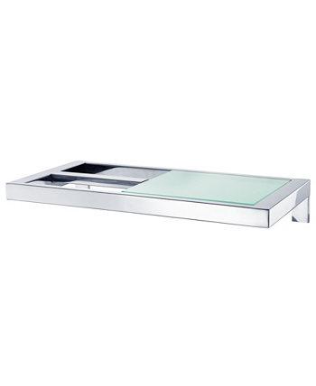 Настенный держатель для туалетной бумаги - со стеклянной полкой - полированный - Menoto Blomus