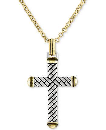 22-дюймовое кулон с ожерельем из текстурированного креста из стерлингового серебра 14 карат, созданный для Macy's Esquire Men's Jewelry