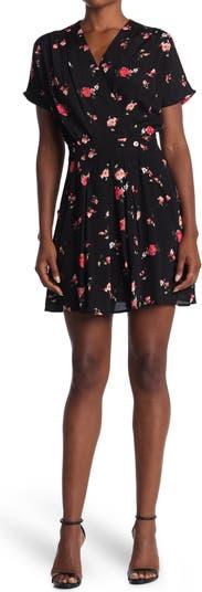 Мини-платье с цветочным принтом и вырезом-капюшоном FRNCH