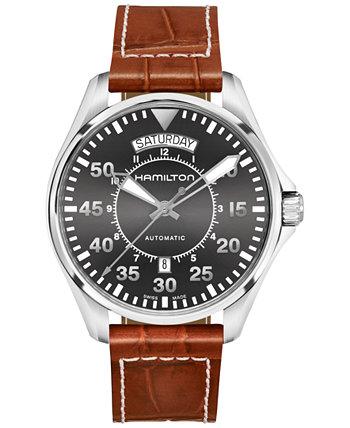 Мужские швейцарские автоматические часы цвета хаки с тиснением под крокодила, коричневый кожаный ремешок, 42 мм Hamilton