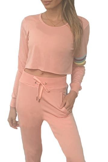 Stripe Sleeve Cropped Sweater Electric Yoga