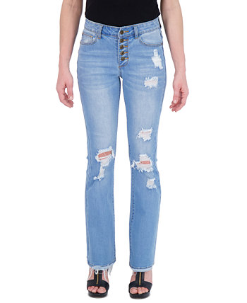 Juniors' Exposed Button Flare Jeans Gogo Jeans