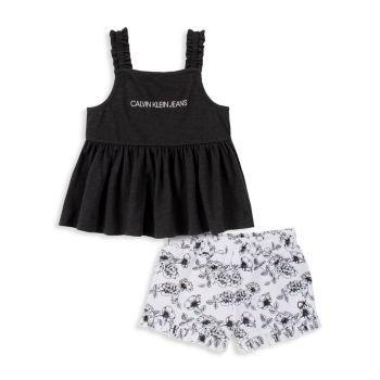 Little Girl's 2-Piece Tunic & Shorts Set Calvin Klein