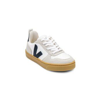 Детские кроссовки на шнуровке с покрытием из хлопковой кожи с V-образным логотипом VEJA