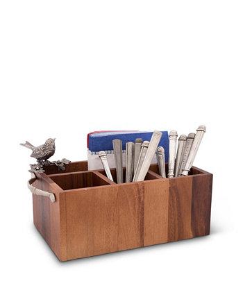 Прямоугольная столовая посуда из акации Caddy, сервировочная посуда, посуда, универсальный держатель с твердым оловянным акцентом в виде птицы и ручками из натуральной кожи Vagabond House