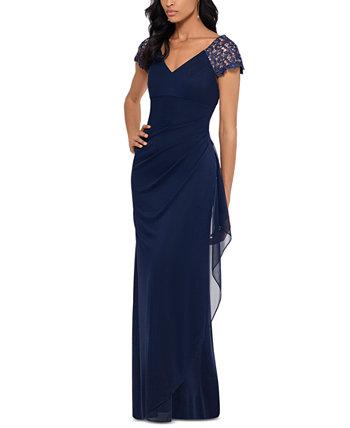 Шифоновое платье с кружевными рукавами XSCAPE
