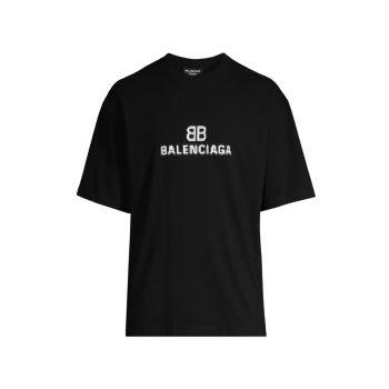 Хлопковая футболка с монограммой и логотипом Balenciaga