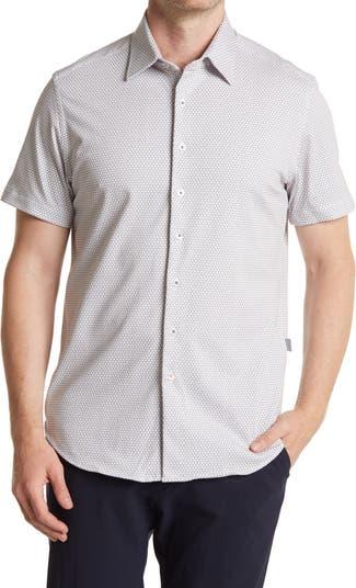 Tech Geometric Print Short Sleeve Shirt Stone Rose
